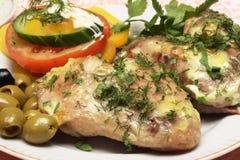 Asas de galinha com vegetal Imagens de Stock