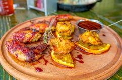Asas de galinha do BBQ Fotografia de Stock Royalty Free