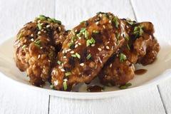 Asas de galinha, estilo do teriyaki Fotografia de Stock