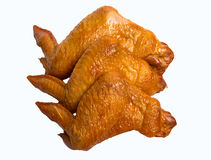 Asas de galinha fumado isoladas no fundo branco Imagens de Stock Royalty Free