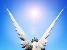 Asas do anjo e luz do sol Imagem de Stock