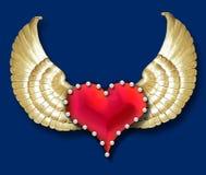 Asas do coração w/golden Foto de Stock Royalty Free