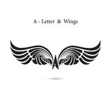 asas do sinal e do anjo da Um-letra Modelo do logotipo da asa do monograma clássico ilustração stock
