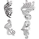 Asas doodled desenhadas mão Imagem de Stock Royalty Free
