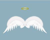 Asas e halo do anjo isolados no fundo Ilustração do vetor Foto de Stock