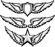 Asas e imagens do emblema do emblema Fotografia de Stock