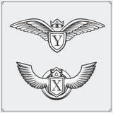 Asas heráldicas ajustadas Elementos do projeto Ilustração do vetor Fotografia de Stock Royalty Free