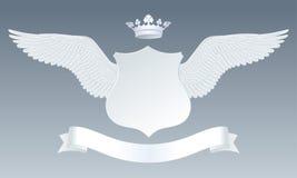 Asas realísticas detalhadas brancas com sinal, as coroas e r de papel cortados Fotografia de Stock Royalty Free