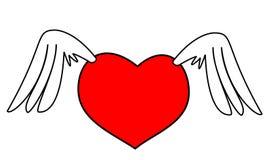 Asas vermelhas do coração Fotografia de Stock Royalty Free