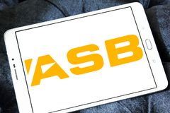 ASB Bank logo. Logo of ASB Bank on samsung tablet. ASB is a bank owned by Commonwealth Bank, operating in New Zealand. It provides a variety of financial Stock Photo