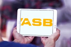 ASB Bank logo. Logo of ASB Bank on samsung tablet. ASB is a bank owned by Commonwealth Bank, operating in New Zealand. It provides a variety of financial Royalty Free Stock Photography