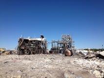 Asbest en de plaats van de vernielingsschoonmaakbeurt Stock Foto