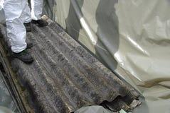 Asbestos 01. Working with asbestos, dangerous work Royalty Free Stock Photos