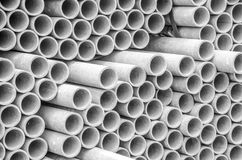 Asbestos cement pipes used for drainage construction. Texture for background. Asbestos cement pipes used for drainage construction Stock Photo