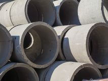 Asbestos cement pipes used for drainage construction. Texture for background. Asbestos cement pipes used for drainage construction Royalty Free Stock Photography