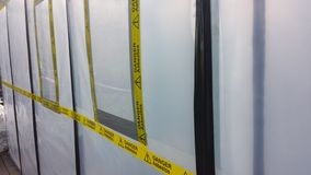 Asbestos enclosure stock images