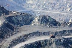 Asbestos quarry. Dump truck in the asbestos quarry Stock Photo