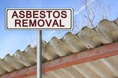 Asbestos removal written on a placard Stock Photos