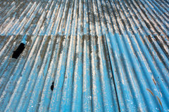 Asbestos roof. Corrugated blue asbestos ceiling panels Royalty Free Stock Images