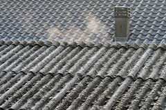 Asbestos roof eternit Stock Photos