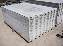 Asbestos slate roofing sheets. Pack sheets of asbestos slate. Building material for roofing Royalty Free Stock Image