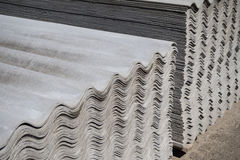 Asbestos slate roofing sheets. Pack sheets of asbestos slate. Building material for roofing Royalty Free Stock Photos