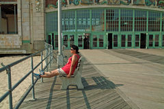 Asbury公园海滩木板走道,新泽西美国 免版税图库摄影