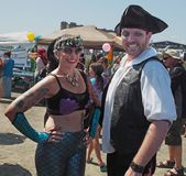 Asbury Park Promenade of Mermaids 2017. People  in fun outfits enjoying a beautiful  summer day at the 3rd Annual Asbury Park Promenade of Mermaids on the Royalty Free Stock Photos