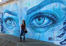 Asbury parks väggmålning för strandpromenad royaltyfri bild