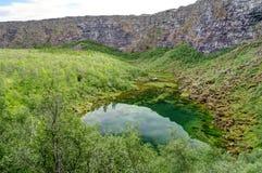 Asbyrgi峡谷的,冰岛Botnstjorn湖 免版税库存图片