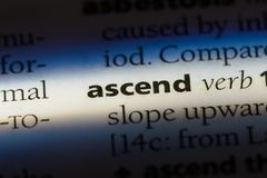 Ascend. Word in a dictionary.  concept stock photos