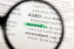 Ascend word or phrase in a dictionary. Nice photo illustration, useful for your needs stock photos
