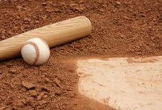 Ascendente cercano del béisbol y del palo Fotografía de archivo
