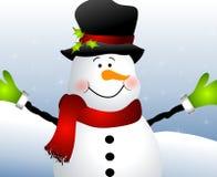 Ascendente cercano del muñeco de nieve ilustración del vector