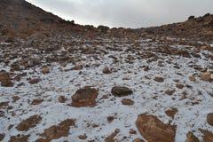 Ascendente próximo da montanha, coberto com a neve Fotos de Stock