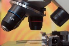 Ascendente próximo do microscópio Fotografia de Stock