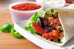 Ascendente próximo do Burrito Foto de Stock Royalty Free