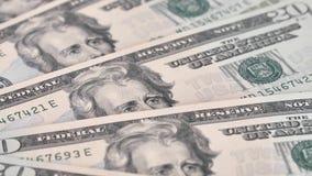 Ascendentes próximos das notas de dólar gerenciem lentamente Retrato de Andrew Jackson video estoque