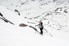 Ascending. Ski mountaineering or cross country skiing in Italian Alps Stock Images