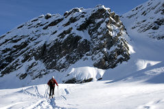 Ascending. Ski mountaineering or cross country skiing in Italian Alps Stock Photo