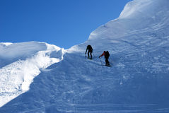 Ascending. Ski mountaineering or cross country skiing in Italian Alps Royalty Free Stock Images