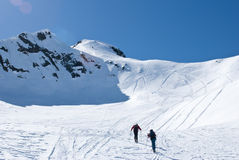 Ascending. Ski mountaineering or cross country skiing in Italian Alps Stock Photography