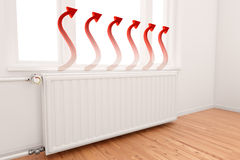 Ascending Arrow Graph On Radiator. Ascending Arrow Graph on central heating radiator conceptual of increasing costs of energy Stock Photos