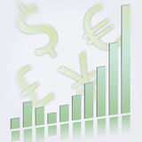 Ascending bar graph with currency symbols. Vector illustration of an ascending bar graph showing growth and increasing performance or profits in pale green on a stock illustration