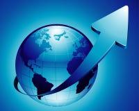 Ascending blue earth. Vector: ascending blue earth, arrow Stock Photography