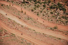 Ascending. Bicycles going up the canyon. Stock Image