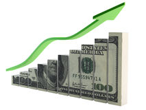 Ascending dollar Stock Photo