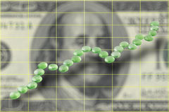 Ascending dollar chart Royalty Free Stock Photo
