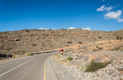 Ascending mountain road. Mountain road ascending to the right Royalty Free Stock Image