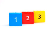 Ascending numbers on colorful dices Royalty Free Stock Photos